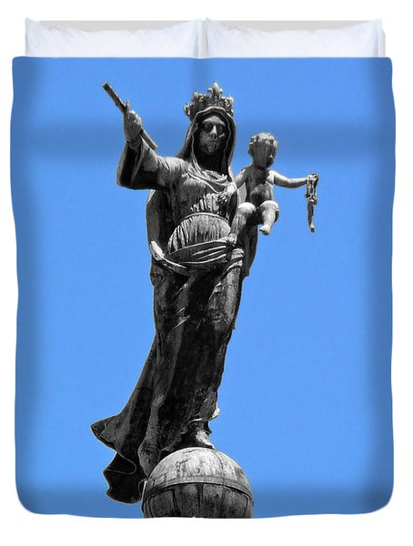 Mother And Child Rooftop Statue Duvet Cover