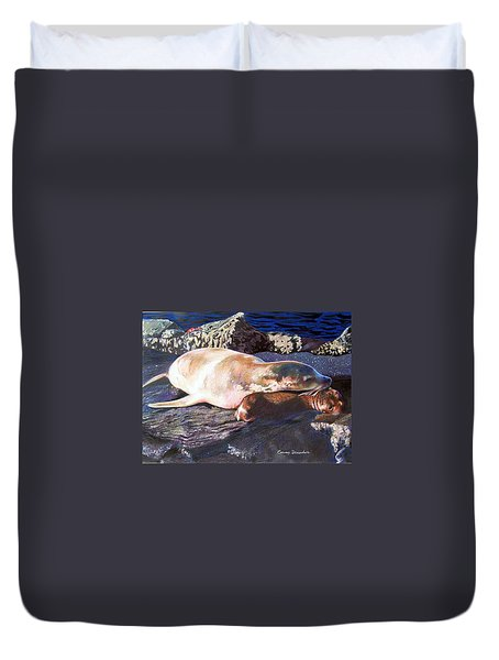 Mother And Child Sea Lion Duvet Cover