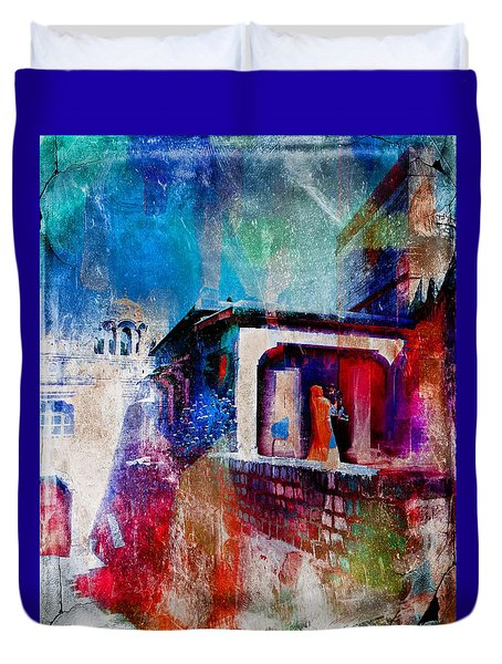 Mother And Child Travel Exotic Blue City Fort Watercolor India Rajasthan 1b Duvet Cover