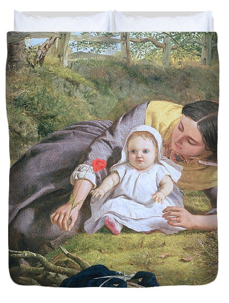 Mother And Child With A Poppy Duvet Cover by Frederick Richard Pickersgil