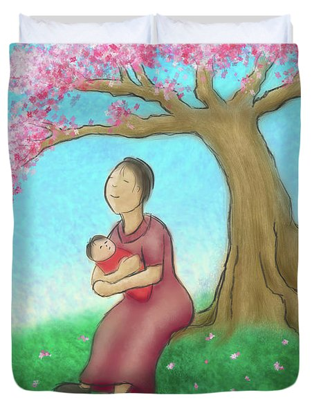 Mother And Child With Cherry Blossoms Duvet Cover