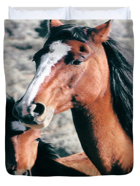 Mother And Colt Wild Duvet Cover