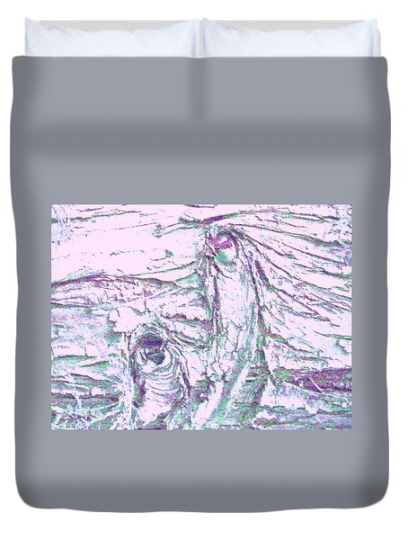 Mother And Daughter Against The Wind Duvet Cover