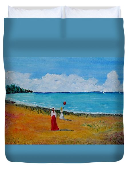 Duvet Cover featuring the painting Mother And Daughter by Marilyn  McNish