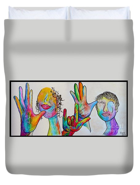 Mother And Father I Love You Duvet Cover