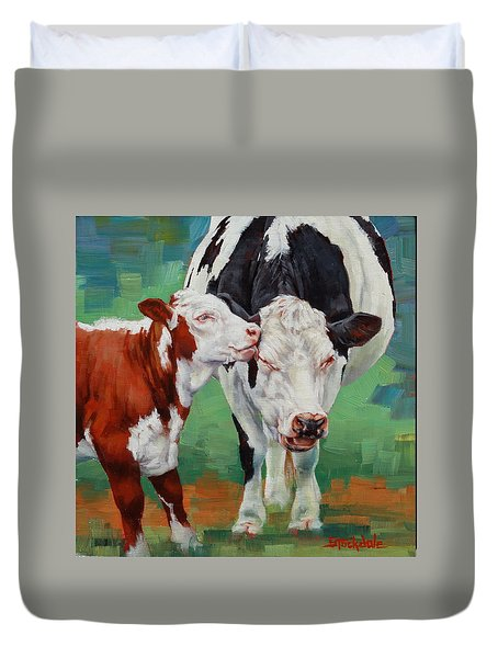 Duvet Cover featuring the painting Mother And Son by Margaret Stockdale