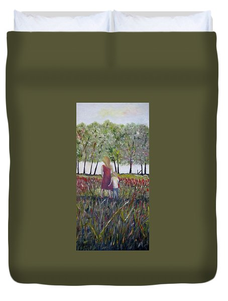 Duvet Cover featuring the painting Mother And Son by Marilyn  McNish