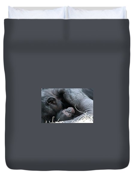 Duvet Cover featuring the photograph Mother Bonobo And Her Baby by Laurel Talabere