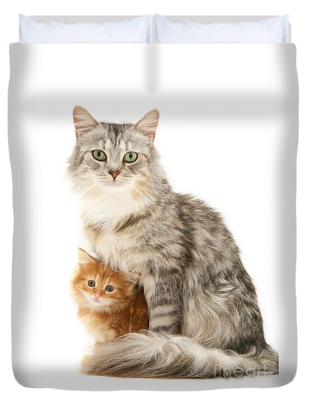 Mother Cat And Ginger Kitten Duvet Cover