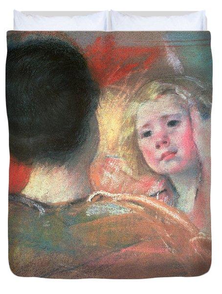 Mother Combing Sara's Hair  Duvet Cover by Mary Stevenson Cassatt