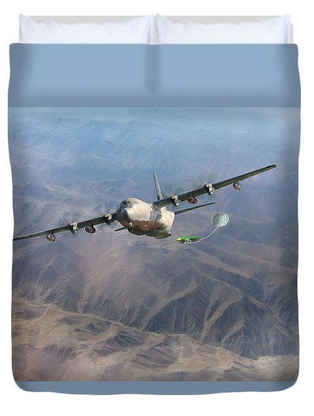 Duvet Cover featuring the digital art Mother Do You Think They Will Drop The Bomb by Peter Chilelli