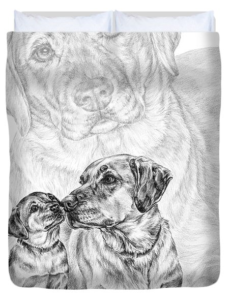 Mother Labrador Dog And Puppy Duvet Cover