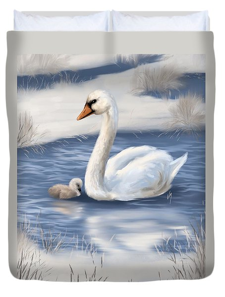 Duvet Cover featuring the painting Mother Love by Veronica Minozzi