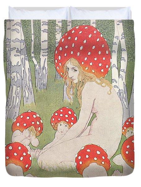 Mother Mushroom With Her Children Duvet Cover