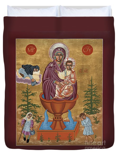 Duvet Cover featuring the painting Mother Of God Life Giving Spring 179 by William Hart McNichols