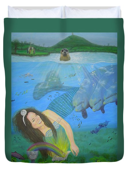 Mother Of Water Goddess Domnu - Summer Solstice Duvet Cover