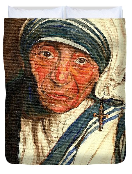 Duvet Cover featuring the painting Mother Teresa  by Carole Spandau