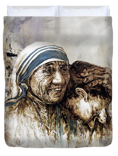 Duvet Cover featuring the painting Mother Teresa  by Gull G