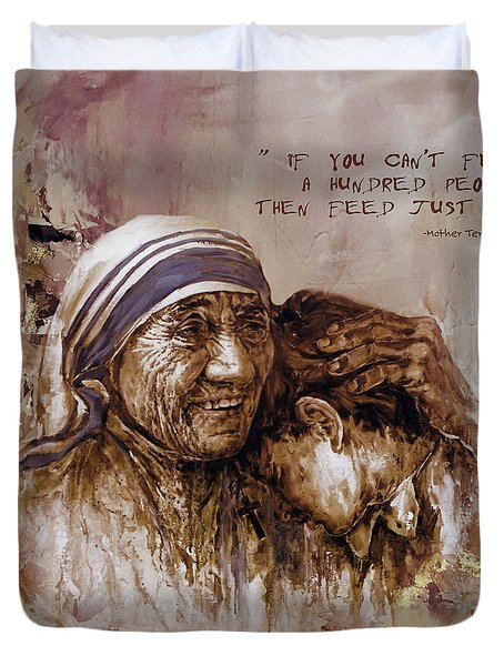 Duvet Cover featuring the painting Mother Teresa Of Calcutta  by Gull G