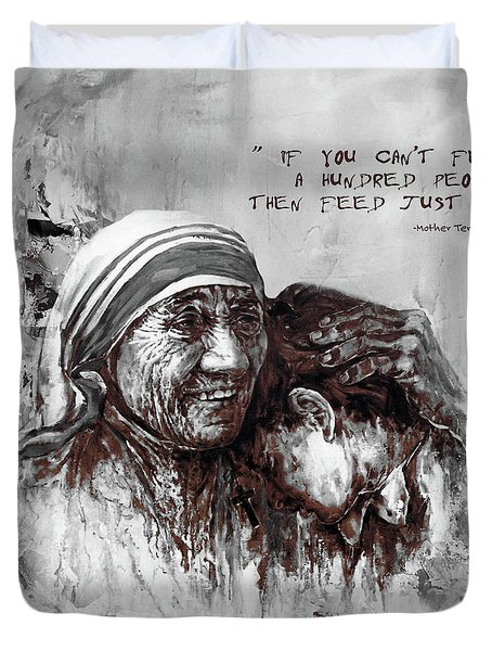 Duvet Cover featuring the painting Mother Teresa Of Calcutta Portrait  by Gull G