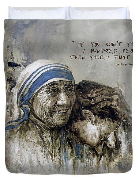 Duvet Cover featuring the painting Mother Teresa Portrait  by Gull G