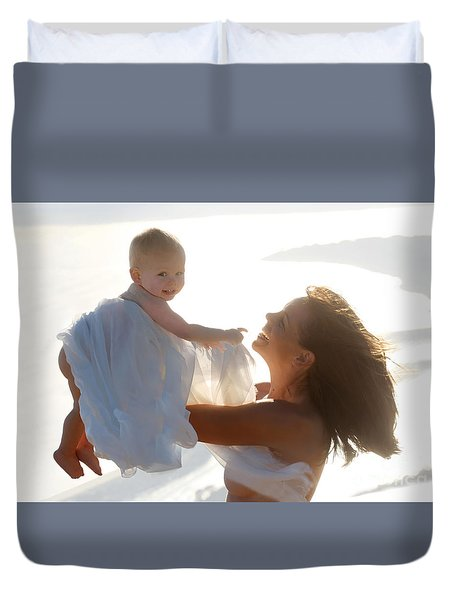 Mother With Baby In Pure Joy, Marin County, California Duvet Cover