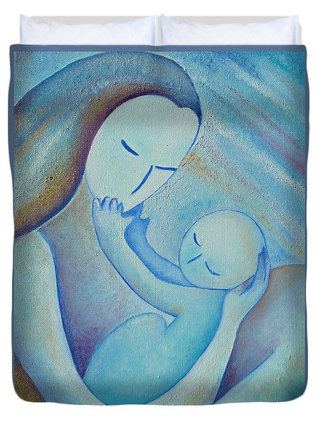 Motherhood Oil Painting Your Little Hands By Gioia Albano Duvet Cover