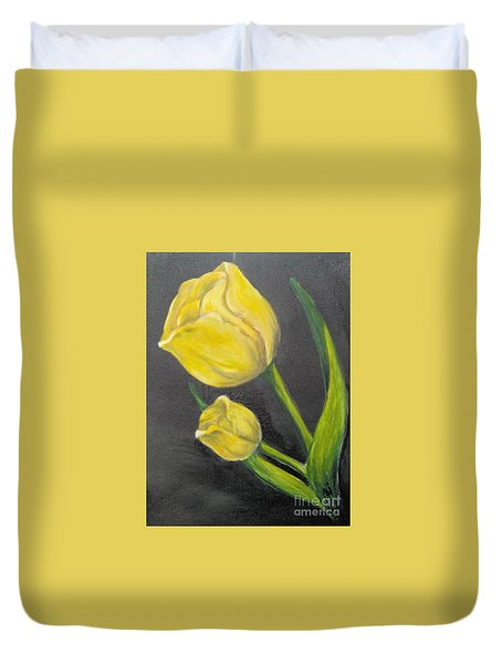 Duvet Cover featuring the painting Mother's Day by Saundra Johnson