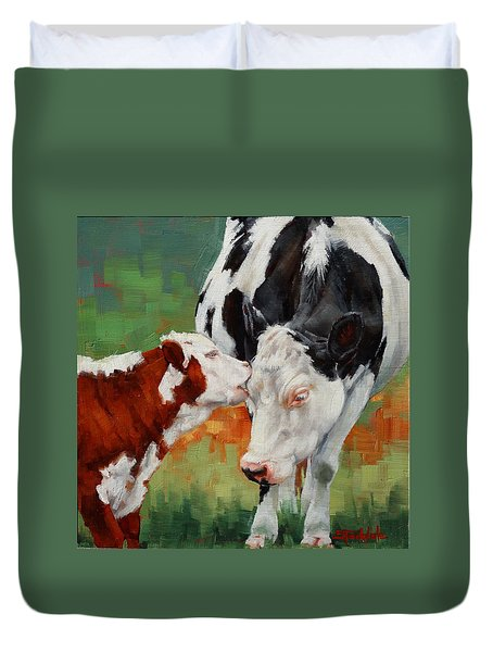 Duvet Cover featuring the painting Mothers Little Helper by Margaret Stockdale