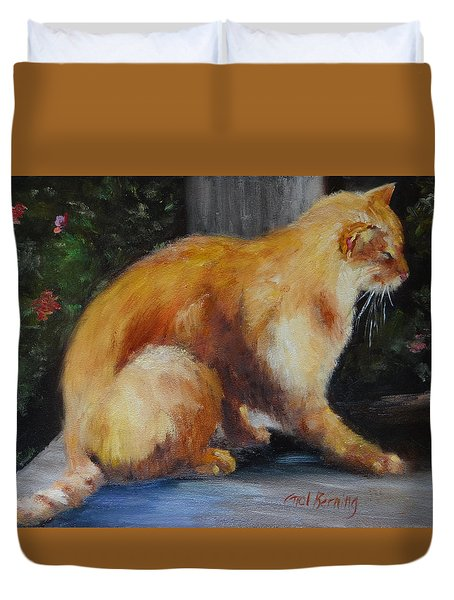 Mother's Yellow Tom Duvet Cover by Carol Berning