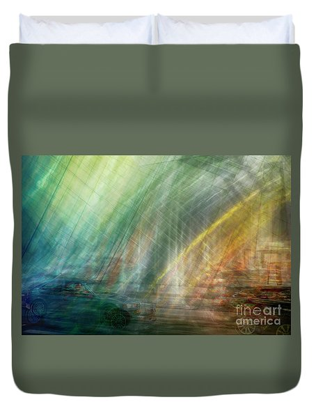 Duvet Cover featuring the photograph motion in Dublin street by Ariadna De Raadt