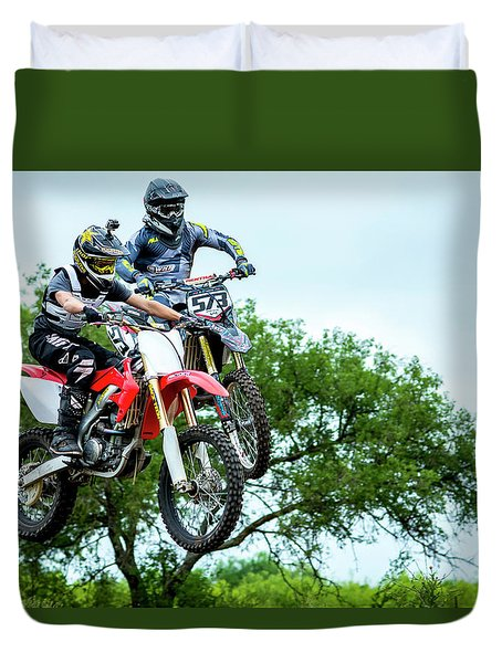 Motocross Battle Duvet Cover