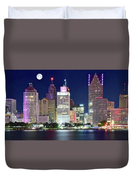 Duvet Cover featuring the photograph Motor City Night With Full Moon by Frozen in Time Fine Art Photography