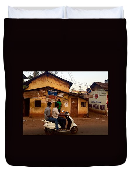 Motorbike Crossing Goa Times Newstand Duvet Cover