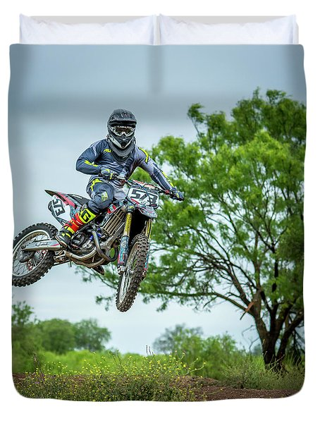 Duvet Cover featuring the photograph Motocross Aerial by David Morefield