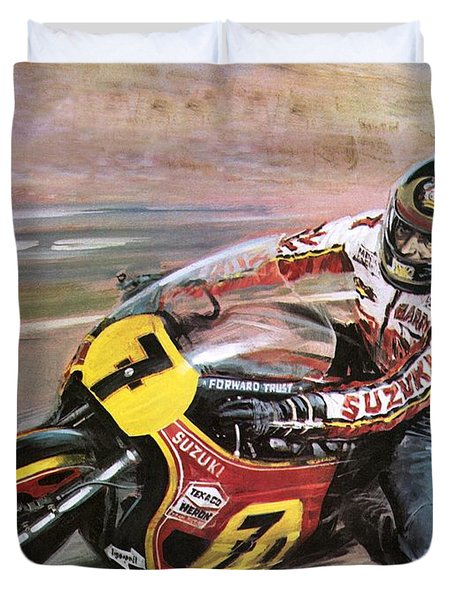 Motorcycle Racing Duvet Cover by Graham Coton