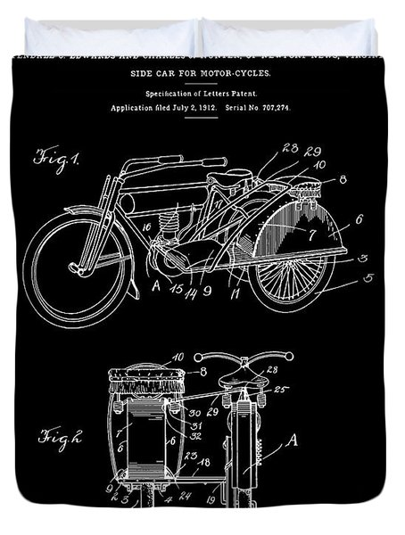 Motorcycle Sidecar Patent 1912 - Black Duvet Cover by Finlay McNevin