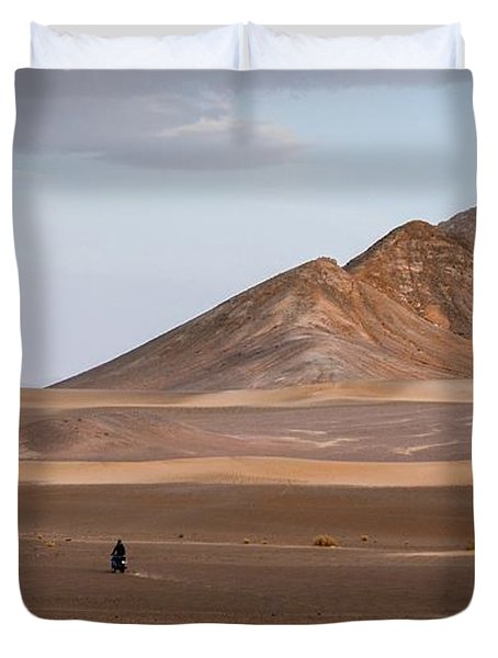 Motorcycles In Persian Desert Duvet Cover