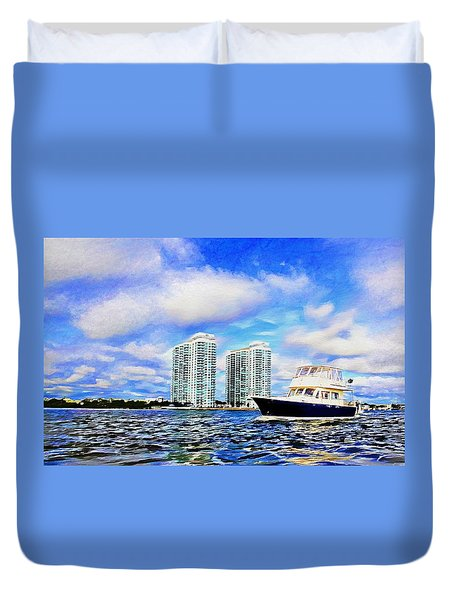 Motoring Past The Marina Grande Duvet Cover