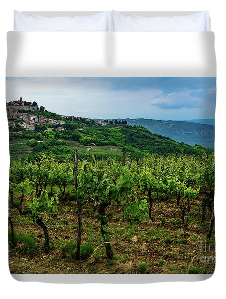 Motovun And Vineyards - Istrian Hill Town, Croatia Duvet Cover