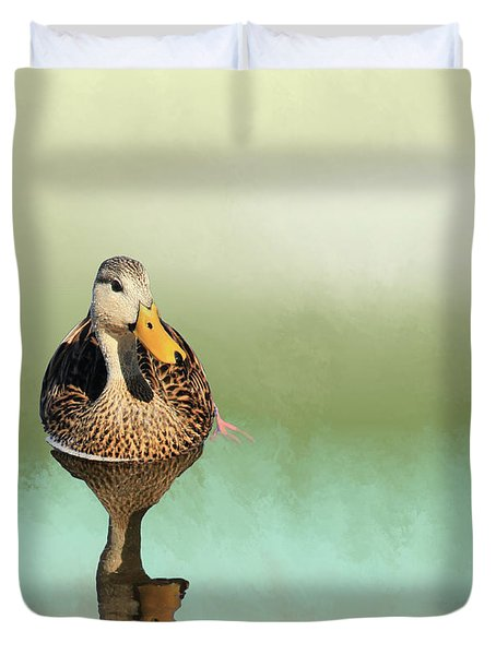 Mottled Duck Reflection Duvet Cover