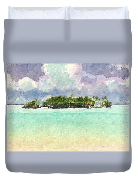 Duvet Cover featuring the painting Motu Rapota, Aitutaki, Cook Islands, South Pacific by Judith Kunzle