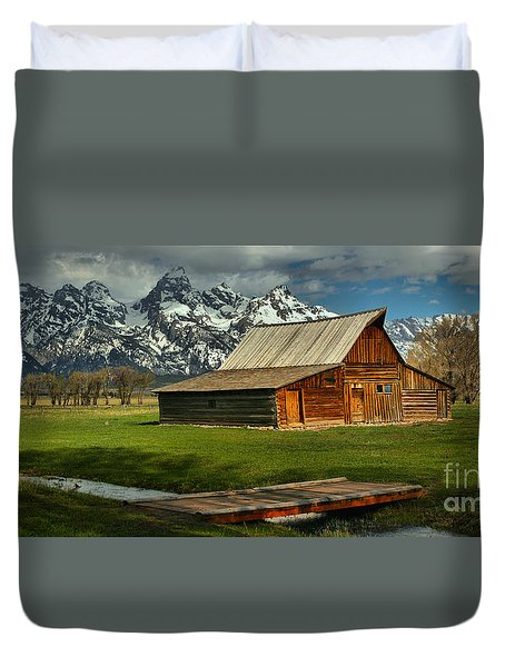 Moulton Barn Springtime Panorama Duvet Cover by Adam Jewell