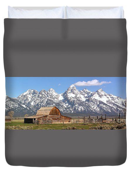 Moulton Barn Blue Sky Panorama Duvet Cover by Adam Jewell