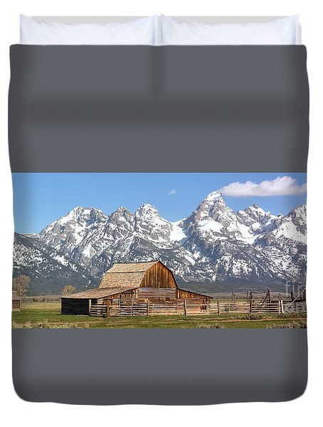 Moulton Barn Homestead Spring Panorama Duvet Cover by Adam Jewell