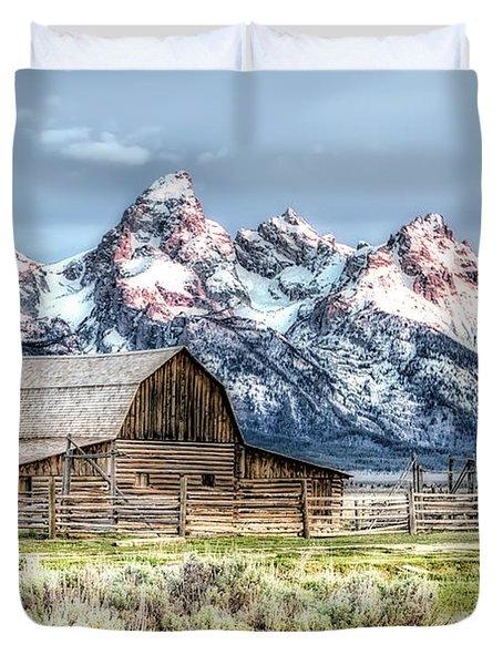 Duvet Cover featuring the photograph Moulton Barn Mormon Row Grand Tetons Wyoming by Gigi Ebert
