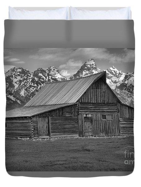 Moulton Barn Springtime Black And White Duvet Cover by Adam Jewell