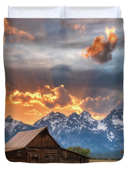 Moulton Barn Sunset Fire Duvet Cover