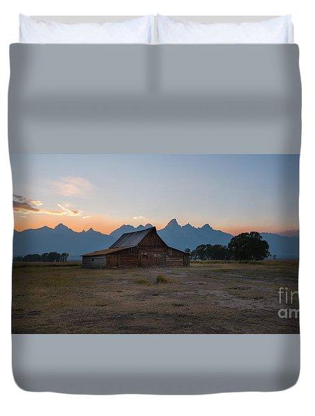 Moulton Ranch Sunset On Mormon Row Duvet Cover