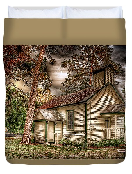 Moultrie Church At Dusk Duvet Cover